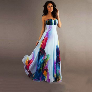 Stylish Printed Tube Maxi Dress