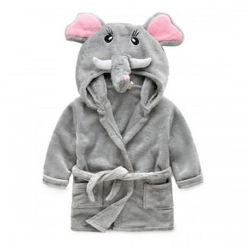 Casual Fleece-lining Long-sleeve Bathrobe for Baby