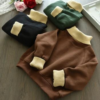 Faux-two Solid Long-sleeve Pullover for Baby and Kid