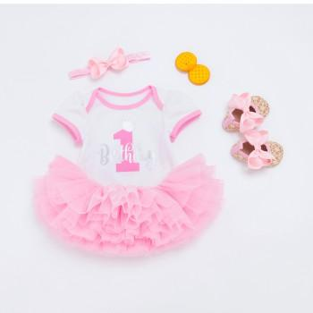 4-piece Birthday Bodysuit Red Tutu Dress Headband and Glitter Shoes for Baby Girl