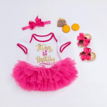 4-piece Birthday Bodysuit Red Tutu Dress Headband and Shoes for Baby Girl