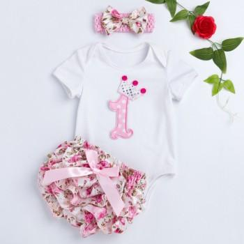 3-piece Pretty Applique Bodysuit Flower Pattern Shorts with Hairband for Baby Girls