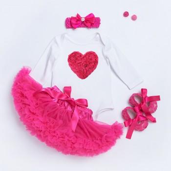 4-piece Love Applique Print Top Tutu Dress Headband and Ballet Shoes for Baby Girl