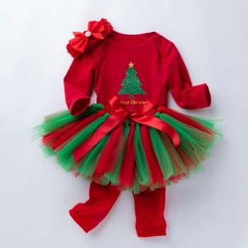 4-piece Trendy Christmas Bodysuit, Tulle Skirt, Leg Warmers and Headband for Baby Girl