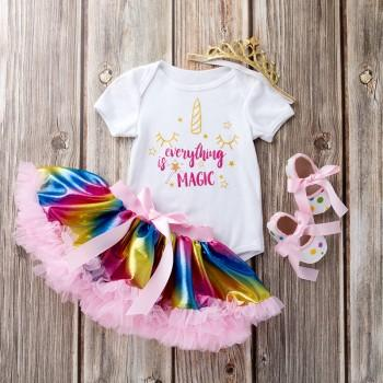 4-piece Unicorn Bodysuit Rainbow Tutu Skirt Crown Headband and Shoes Set