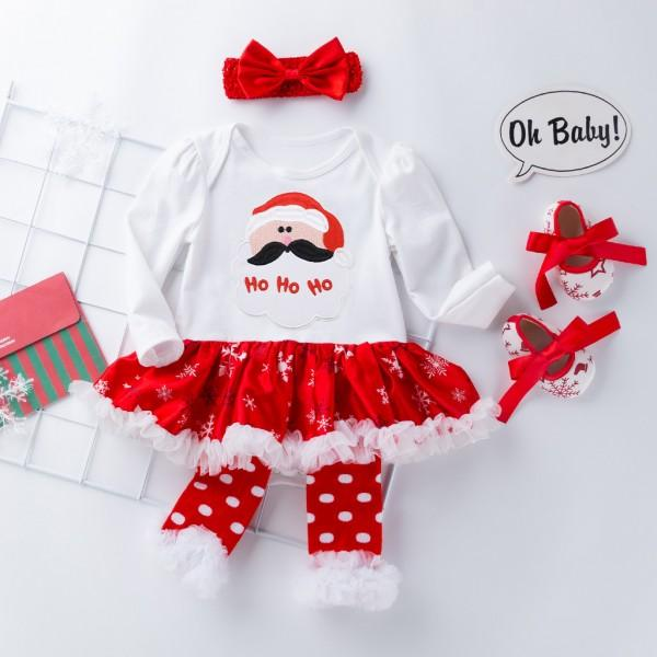 4-piece Christmas Long-sleeve Bodysuit Dress, Shoes, Oversleeves and Headband Set for Baby Girl