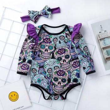 2-piece Stylish Halloween Skeleton Pattern Ruffled Bodysuit and Headband for Baby Girl