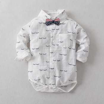 Gentlemanly Eyelash Print Polo Collar Bodysuit for Baby and Toddler