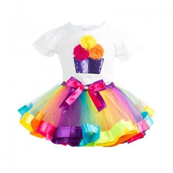 2-piece Charming Fairy Sequin Tee and Rainbow Tutu Skirt Set for Girls