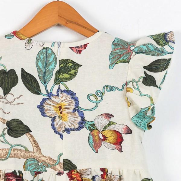 Gorgeous Floral Design Zip-up Dress for Girl