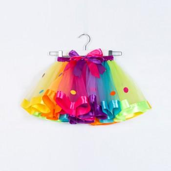 Stylish  Dotted Bow Decor Mesh Skirt for Toddler Girl and Girl