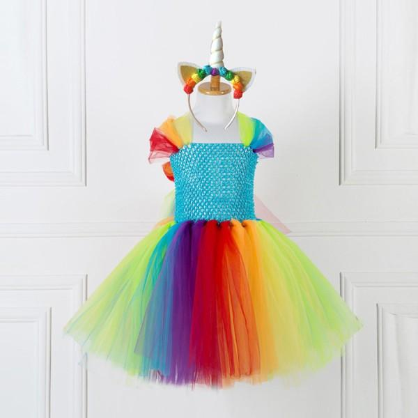Beautiful Fairy Strap Rainbow Tulle Dress with Unicorn Hairband for Girls