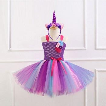 Fairy Strap Tullu Dress and Unicorn Hairband Set for Girls