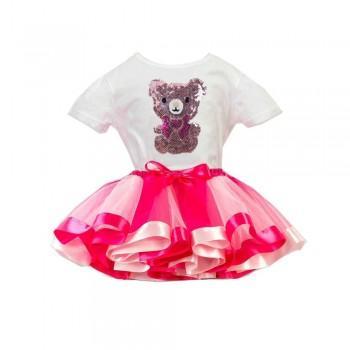 Lovely Bear Short Sleeves Tee and Tutu Skirt for Toddler Girl