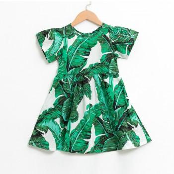 Trendy Leaf Print Short-sleeve Dress in Dark Green for Toddler Girl and Girl