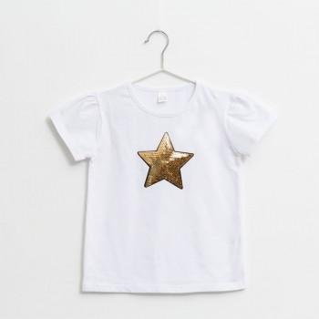 Trendy Star Sequined Short-sleeve Tee for 1.5-7 Years Girl