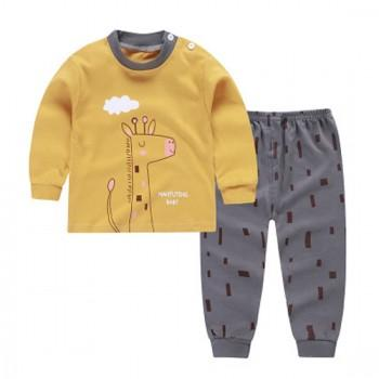 2-piece Comfy Giraffe Print Long-sleeve Top and Pants Set for Toddlers