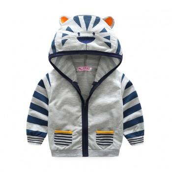 Casual Tiger Design Hooded Long-sleeve Coat for Toddler and Kid