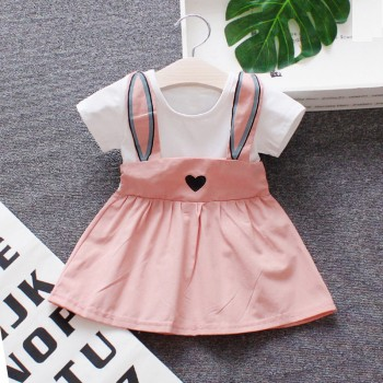 Super Cute Faux-two Rabbit Dress for Baby Girl