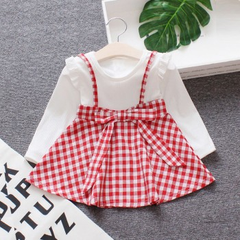 Pretty Faux-two Plaid 3D Flower Long-sleeve Dress for Baby and Toddler Girl
