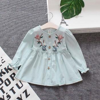 Lovely Flower Embroider Long-sleeve Dress for Baby and Toddler Girl