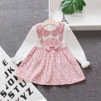 Sweet Faux-two Patterned Bow Decor Long-sleeve Dress for Baby and Toddler Girl
