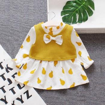 2-piece Cute Pear Pattern Long-sleeve Dress and Vest Set for Baby and Toddler Girl