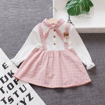Adorable Faux-two Rabbit Decor Plaid Long-sleeve Dress for Baby and Toddler Girl