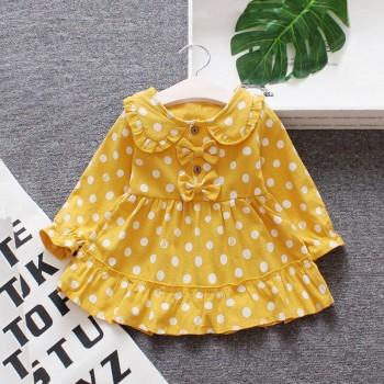 Lovely Dotted Bow Decor Long-sleeve Dress for Baby and Toddler Girl