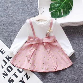 Fashionable Faux-two Bow Decor Long-sleeve Dress for Baby and Toddler Girl