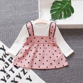 Lovely Faux-two Dotted Long-sleeve Dress for Baby and Toddler Girl