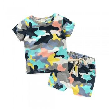 2-piece Camouflage T-shirt and Shorts for Boys
