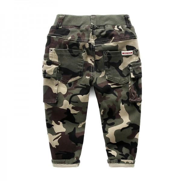 Trendy  Camouflage Print Drawstring Design Pants for Boy