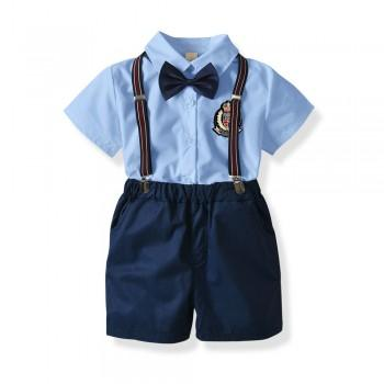 Preppy Style Short-sleeve Shirt and Suspender SHorts Set for Toddler Boy