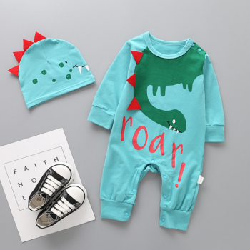Stylish Dinosaur Print Long-sleeve Jumpsuit and Hat Set for Baby Boy