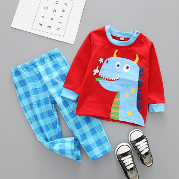 Lovely Dino Top and Plaid Pants Lounge Set for Toddlers