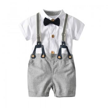 Baby Boy's Cool Polo Bodysuit and Suspender Shorts Set