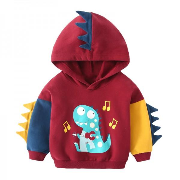 Adorable Dino Print Hooded Pullover for Toddler Boy and Boy