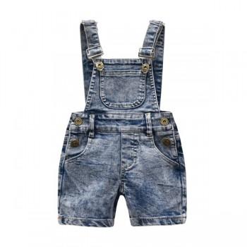 Trendy Pocket Design Denim Suspender Shorts for 4-8 Years Kid