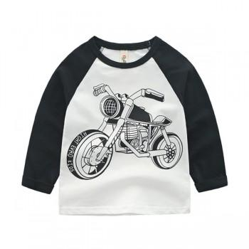 Trendy Motorcycle Print Long-sleeve Top for Baby Boy and Boy