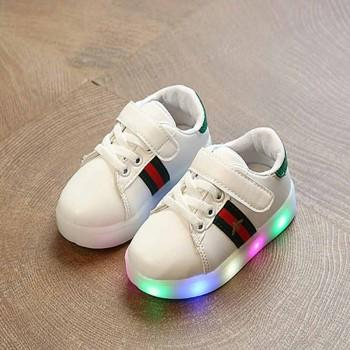 Stylish Striped LED Velcro Shoes for Toddler Boy and Boy