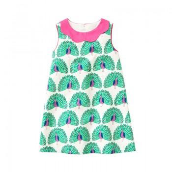 Trendy Peacock Pattern Sleeveless Dress for Toddler Girls