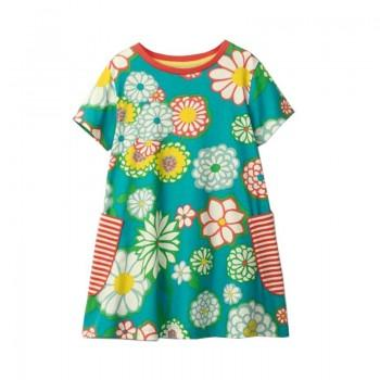 Beautiful Floral Pattern Short Sleeves Dress for Girls