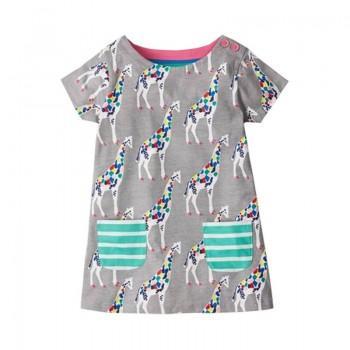 Colorful Giraffe Pattern Short Sleeves Dress for Toddler Girl and Girl