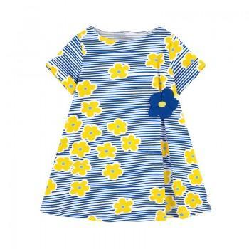 Trendy Floral Print Short Sleeves Striped Dress for Girls
