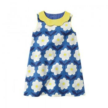 Pretty Floral Print Sleeveless Dress for Girls