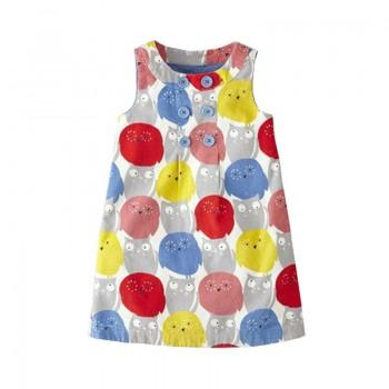 Cute Owl Print Sleeveless Dress for Girl