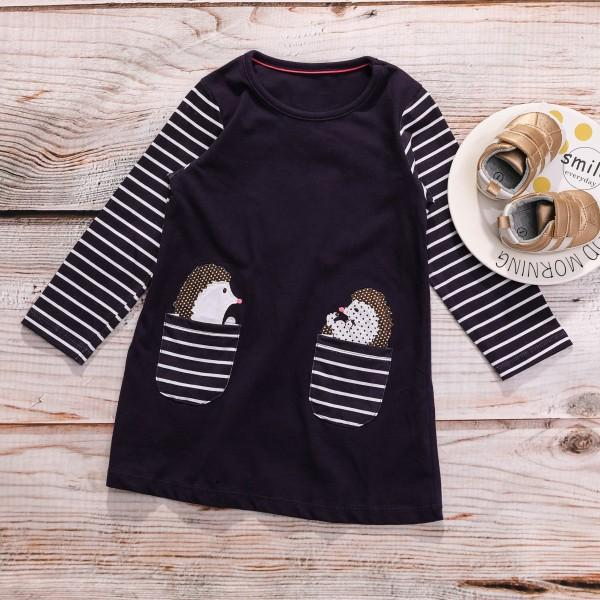 Casual Hedgehog Print Striped Long-sleeve Dress for Baby Girl and Girl