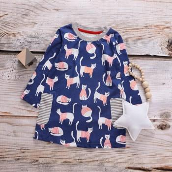 Cute Cat Patterned Long-sleeve Dress for Toddler Girl and Girl