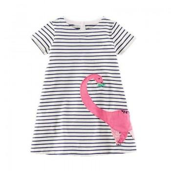 Cute Striped Appliqued Short-sleeve Dress for Toddler Girl and Girl